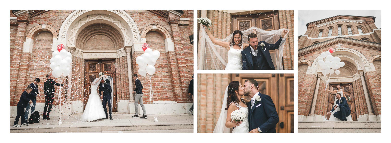 Matrimonio in laguna di Venezia a Torcello, Osteria Ponte del Diavolo. Gli sposi escono dalla chiesa. Il Blog di Michelino Studio, Fotografo di matrimonio in Veneto.